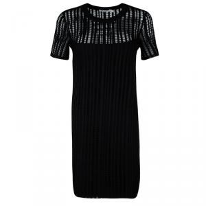 T by Alexander Wang Black Perforated Knit Short Sleeve Dress L