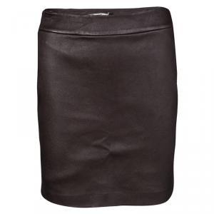 T by Alexander Wang Dark Brown Lambskin Leather Mini Skirt S