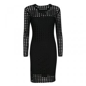 T By Alexander Wang Black Laser Cut Stretch Jersey Long Sleeve Dress S