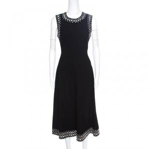 Alexander Wang Black Knit Eyelet Embellished Sleeveless Midi Dress M