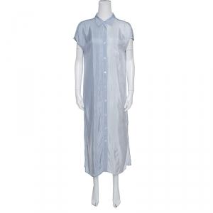 T by Alexander Wang Blue Striped Drop Shoulder Long Shirt Dress S