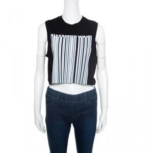 Alexander Wang Black Barcode Printed Cotton Sleeveless Cropped Top M