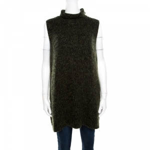 T By Alexander Wang Green and Black Chunky Knit Sleeveless Oversized Sweater M