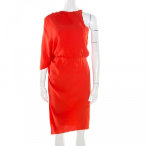 Alexander Wang Orange Silk Asymmetric Sleeve Sheath Dress S used