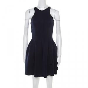 T by Alexander Wang Navy Blue Box Pleated Neoprene Flared Dress XS