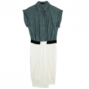 Alexander Wang Denim Oxford Shirt Dress with Rib Combo M