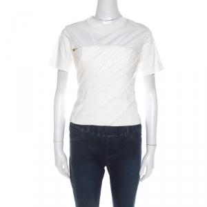 Alexander Wang White Cotton Draped Bustier T Shirt S
