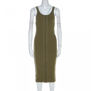 Alexander Wang Green Ribbed Knit Lace Up Detail Tank Dress S used