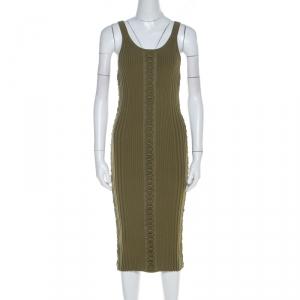 Alexander Wang Green Ribbed Knit Lace Up Detail Tank Dress S used