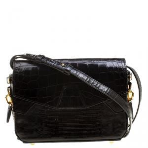 Alexander Wang Black Croc and Lizard Embossed Leather Tri Fold Shoulder Bag