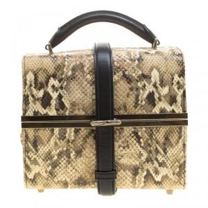 حقيبة أليكساندر وانغ بوكس يد علوية جلد نقش ثعبان سوداء/ بيج