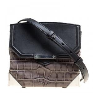 Alexander Wang Black/Grey Croc Embossed and Leather Marion Shoulder Bag