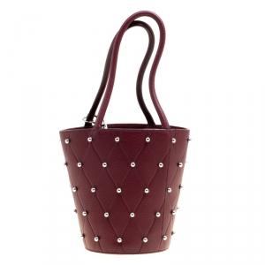 Alexander Wang Burgundy Leather Mini Runway Roxy Studded Bucket Bag