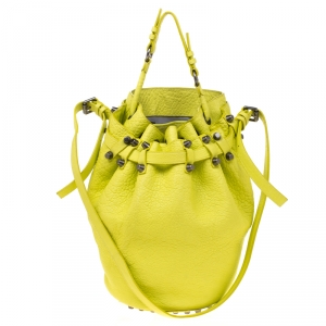 Alexander Wang Lime Green Textured Leather Diego Bucket Bag