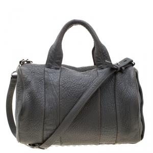 Alexander Wang Grey Pebbled Leather Rocco Duffel Bag