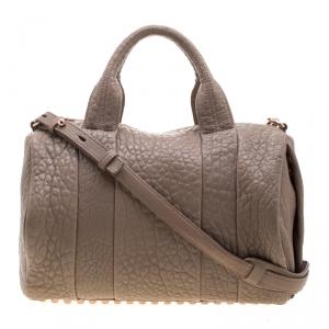 Alexander Wang Dark Beige Pebbled Leather Rocco Duffel Bag