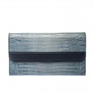 Alexander Wang Grey/Blue Lizard Embossed Leather Wallet