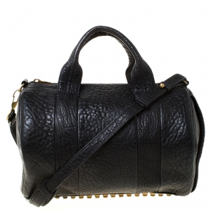 Alexander Wang Black Textured Leather Rocco Duffel Bag
