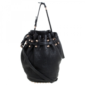 Alexander Wang Black Textured Leather Diego Bucket Bag