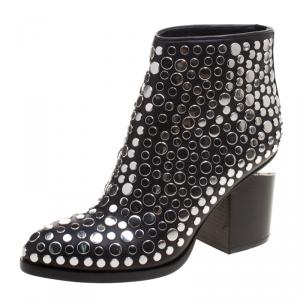 Alexander Wang Black Studded Leather Gabi Ankle Boots Size 35.5