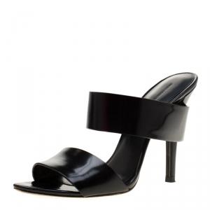 Alexander Wang Black Leather Masha Slide Sandals Size 38