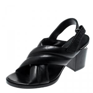 Alexander Wang Black Leather Cross Strap Block Heel Sandals Size 41
