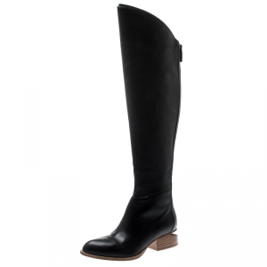 Alexander Wang Black Leather Sigrid Knee Length Boots 35.5