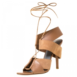 Alexander Wang Dark Beige Cut Out Leather and Suede Peep Toe Ankle Wrap Sandals Size 37.5