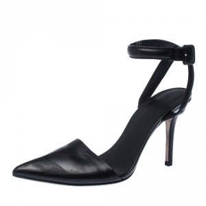 Alexander Wang Black Leather Lovisa Ankle Strap Sandals Size 37.5