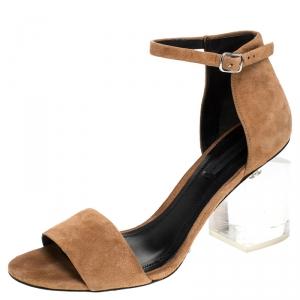 Alexander Wang Beige Suede Abby Lucite Tilt Heel Sandals Size 37.5 - used