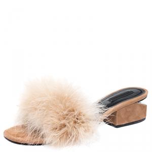 Alexander Wang Beige Suede Feather Embellished Lou Slides Size 39