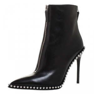 Alexander Wang Black Leather Eri Studded Ankle Booties Size 40