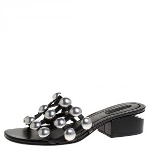 Alexander Wang Black Leather Lou Tilt Studded Open Toe Sandals Size 37.5