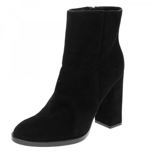 "Alexander Wang Black Suede ""Iselin"" Block Heel Ankle Boots Size 38 - used"
