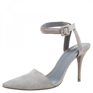 Alexander Wang Grey Suede Leather Lovisa Ankle Wrap Sandals Size 38.5 - used
