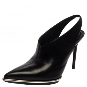 Alexander Wang Black Leather Cara Slingback Pointed Toe Booties Size 38.5