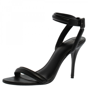 Alexander Wang Black Lizard Embossed Leather Antonia Ankle Wrap Sandals Size 38.5