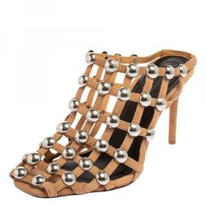 Alexander Wang Brown Suede Embellished Sandals Size 37 - used