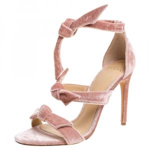 Alexandre Birman Light Pink Velvet Lolita Sandals Size 38 -