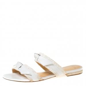 Alexandre Birman White Leather Clarita Braided Flat Sandals Size 38