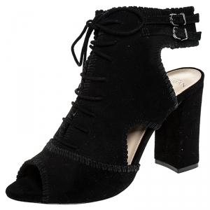 Alexandre Birman Black Suede Abbe Peep Toe Lace Booties Size 37 - used