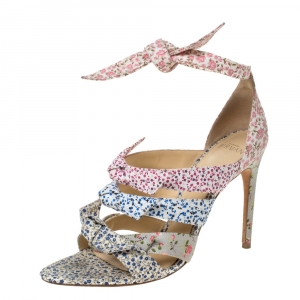 Alexandre Birman Floral Printed Canvas Lolita Knot Strappy Sandals Size 38.5 - used