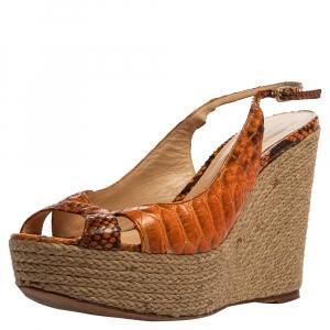 Alexandre Birman Orange Python Leather Wedge Slingback Sandals Size 39.5