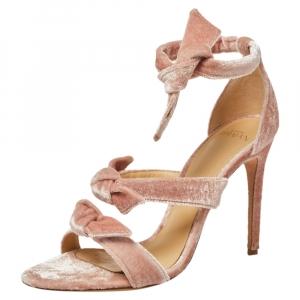 Alexandre Birman Pink Velvet Lolita Knots Ankle Strap Sandals Size 38 - used