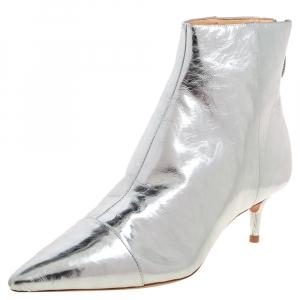 Alexandre Birman Silver Leather Kittie Ankle Boots Size 39 - used