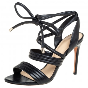 Alexandre Birman Black Leather Aurora Ankle Wrap Sandals Size 36