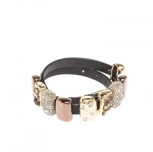 Alexis Bittar Crystal Embellished Three Tone Metal Black Leather Bracelet