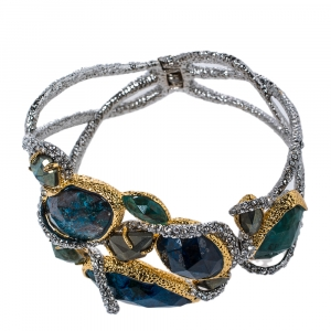 Alexis Bittar Gold & Rhodium Plated Hammered Elements Muse d'Or Hinge Bracelet