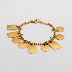 Alfieri & St. John Diamond and Gold Bracelet With Yellow Gold Geometric Charms