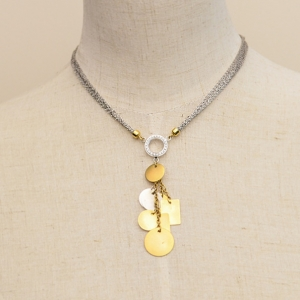 Alfieri & St. John Diamond Chain Neklace with Gold Charms